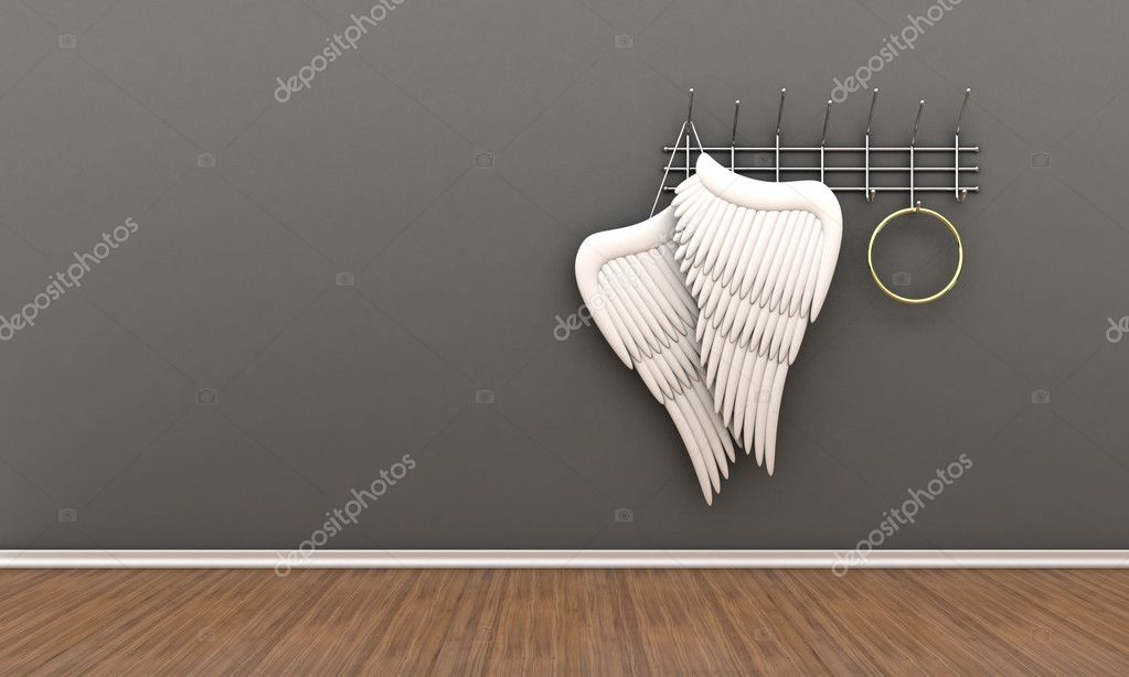 Illustration of wings of an angel and nimbus on a hanger  Stock Photo #10193803