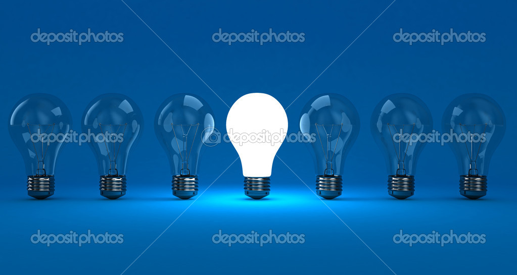 A row lamps with one shining on a blue background — Stock Photo #9894354