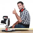 Stock Photo: Woodworker using circular saw