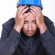 Overworked builder has had enough — ストック写真