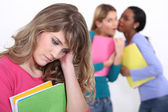 Girl being bullied at school — Stock Photo