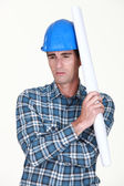 A construction worker deep in his thoughts — Stock Photo