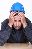 Overworked builder has had enough — Stock Photo