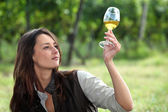 Woman with glass of wine — Stock Photo