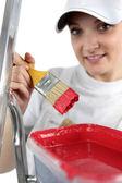 Craftswoman painter working — Stock Photo