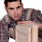 Carpenter building a cupboard — Stock Photo #10013525