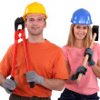 Stock Photo: Couple handyman.