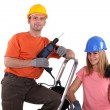 Stock Photo: Couple refurbishing their house