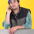 Laborer with cellphone — Stock Photo #10016119