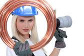 Female plumber — Stock Photo