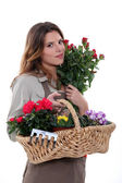 Çiçekçi holding sepet çiçek — Stok fotoğraf