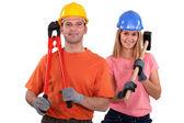 Ett par handyman. — Stockfoto
