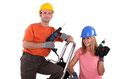 Couple refurbishing their house — Stock Photo