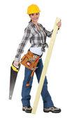 Woman carpenter — Stock Photo