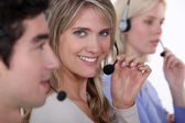 Working in a call center — Stock Photo
