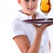 Portrait of a young waitress — Stock Photo