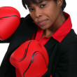 Woman with boxing gloves — Stock Photo #10025387