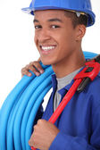 Young African blue collar — Stock Photo