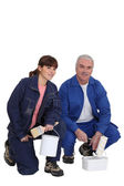A team of professional house painters — Stock Photo