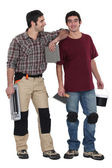 Two tilers ready to start work — Stock Photo