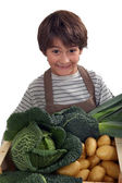 Kid in front of vegetables — Stock Photo