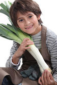 Little boy gardener with leeks — Stock Photo