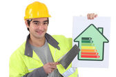 Builder advising to reduce energy consumption — Stock Photo