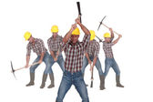 Photo-montage of a laborer using pickaxe — Stock Photo