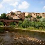 Stone bridge leading to a small town — Stock Photo