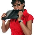 Woman biting diary — Stock Photo #10083119