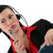 Receptionist with headset and side look taking a call — Stock Photo #10084839
