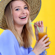 Stock Photo: Womdrinking juice