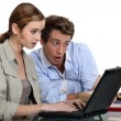 Two students have lost their course work - Stock Photo