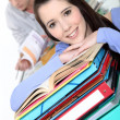 Oblique image of students with folders — Stock Photo #10094591