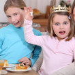 Womand little girls celebrating Epiphany — Stock Photo #10095621