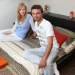Стоковое фото: Couple visiting house for sale