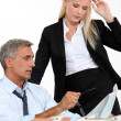 A boss and his female assistant thinking behind a subdivision model — Stock Photo #10096102