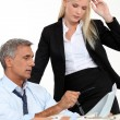 Boss and his female assistant thinking behind subdivision model — Stock Photo #10096102