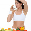 A brunette with a healthy lifestyle. — Stock Photo