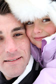 Father and daughter wrapped-up for winter — Stock Photo