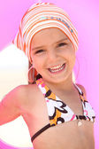Girl with scarf and float — Stock Photo