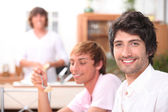 Kids eating in the kitchen — Stock Photo