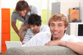 Friends gathered at home — Stock Photo