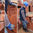Shots of bricklayer at work in construction site - Foto Stock