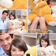 Stock Photo: Mosaic of couple with cuddly toys