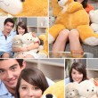 Mosaic of couple with cuddly toys - Stock Photo