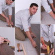 Royalty-Free Stock Photo: Montage on man laying laminate flooring