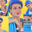 Collage of a tradeswoman - Stock Photo
