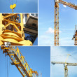 Montage of crane on construction site — 图库照片