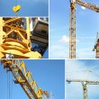 Montage of crane on construction site — ストック写真